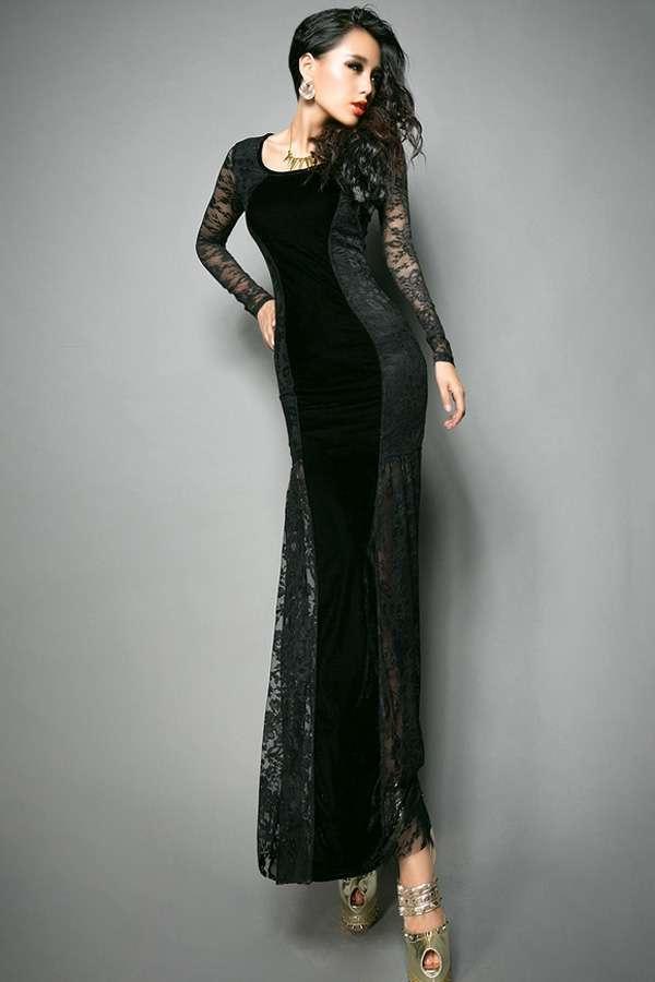 2015 Fishtail Dress Models - Black
